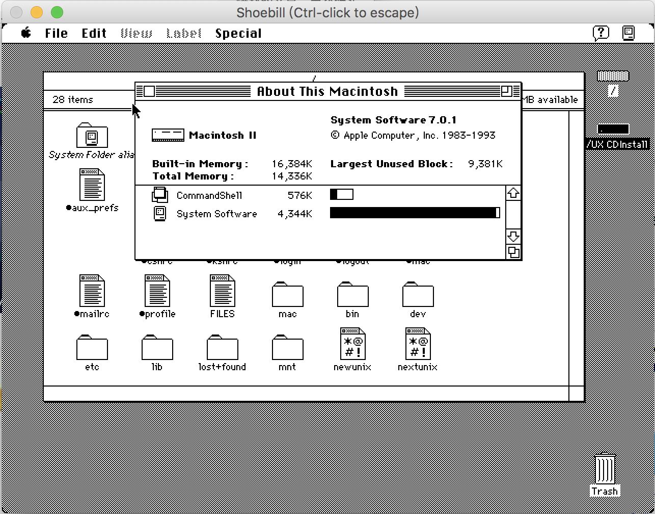 Shoebill品尝Apple Unix 3.0(A/UX)