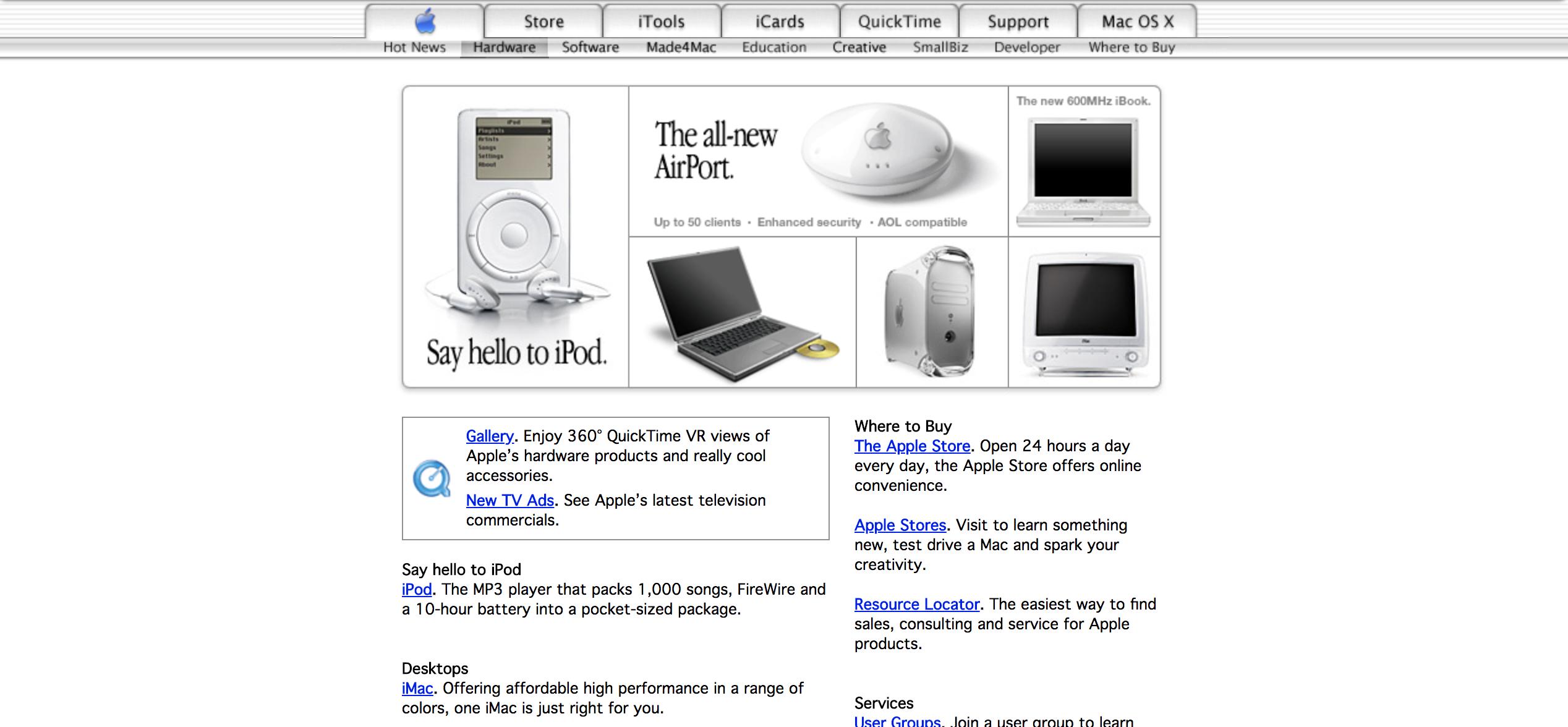 官网截图详细介绍,带你回顾2000-2006年的Apple Mac产品(上,2000年、2001年、2002年)